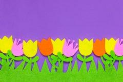 Ljust kulöra klädde med filt tulpanblommor på en vanlig bakgrund arkivfoton