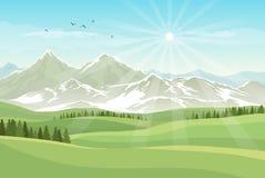 Ljust landskap för vektor med gröna ängar, skogar, berg w Arkivbilder
