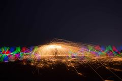 Ljust måla härligt landskap för H av natten Arkivbilder