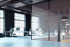 Ljust modernt kontor som är inre med öppen workspace framförande 3d vektor illustrationer