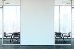 Ljust modernt kontor som är inre med öppen workspace framförande 3d stock illustrationer