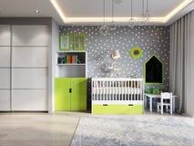 Ljust och hemtrevligt rum för barn` s i modern stads- modern vagel Royaltyfri Foto