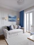 Ljust och hemtrevligt rum i modern klassisk stil royaltyfria foton