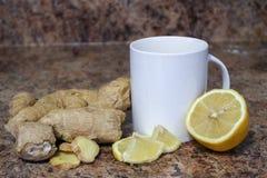 Ljust rödbrun citrontebegrepp, ett bra te för att läka förkylningar och annat arkivfoton