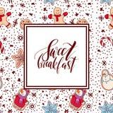 Ljust rödbrun ljusbruna julkakor med den komponerade dekoren seamless modell royaltyfri illustrationer
