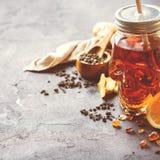 Ljust rödbrun te för citronmintkaramell för halloween i skallekrus Arkivbilder
