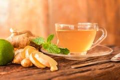 Ljust rödbrun te - kopp av ljust rödbrun te med den gröna citronen fotografering för bildbyråer