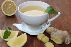 Ljust rödbrun te med mintkaramellen och citronen Royaltyfri Bild