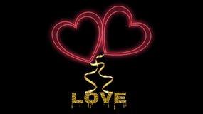Ljust rött glödande tecken för härligt abstrakt neon, symbol av festliga hjärtor och guld- inskriftförälskelse för valentin dag v vektor illustrationer