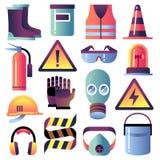 Ljust rött lifebuoy på pir Personligt skydd för byggnationer Hjälm, handske och exponeringsglas Symboler för säkerhetsjobbvektor vektor illustrationer