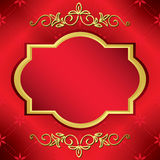 Ljust rött vektorkort med den center guldramen vektor illustrationer
