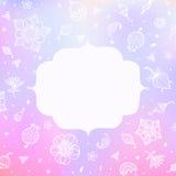 Ljust rosa blom- mönstrar med klotterblommor Arkivfoto