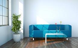 Ljust rum med den blåa soffan som är främst av ett fönster royaltyfri illustrationer