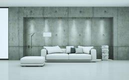 Ljust rum med den vita soffan och cpncreteväggen stock illustrationer