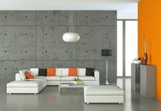 Ljust rum med den vita soffan och tabellen stock illustrationer