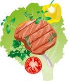 Ljust saftigt grillat kött på benet stock illustrationer