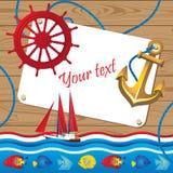 Ljust sommargräns med en yacht, fiskar royaltyfri illustrationer