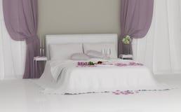 Ljust sovrum med blommor Royaltyfria Bilder