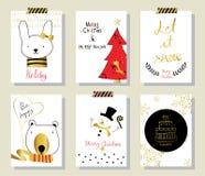 Ljust svart rött guld- kort för förälskelsejulhälsning med kanin Royaltyfri Fotografi