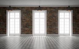 Ljust töm rum med tegelstenväggen och enorma fönster framförande 3d stock illustrationer