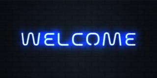 Ljust tecken för välkomnandeneon Signage för blått neon för vektor glödande välkommen stock illustrationer