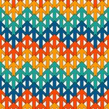 Ljust tryck med att gripa in i varandra pilar Modern bakgrund med pekare Färgrika geometriska seamless mönstrar Fotografering för Bildbyråer
