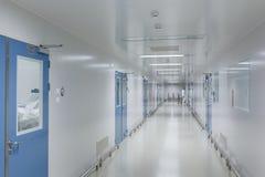 Ljust vit med blåa dörrar, en steril korridor i en medicinsk lätthet royaltyfria bilder
