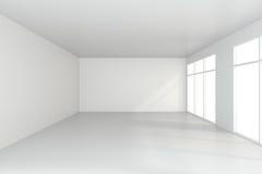 Ljust vitt rum och stort fönster framförande 3d arkivbilder