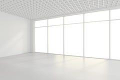 Ljust vitt rum och stort fönster framförande 3d royaltyfri foto