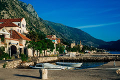 Ljuta village in the Bay of Kotor. In Montenegro royalty free stock photography