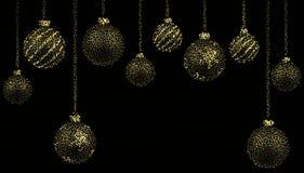 Ljuv jul, jultapet med bollar som bildas av guld- damm på en svart bakgrund också vektor för coreldrawillustration vektor illustrationer