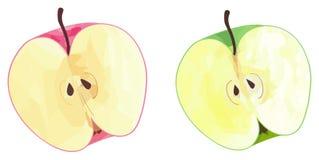 Ljuv trädgård - halvor av gröna och röda äpplen med polygona Royaltyfri Bild