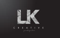 LK L k-Buchstabe-Logo mit Zebra-Linien Beschaffenheits-Design-Vektor stock abbildung