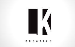 LK L K White Letter Logo Design with Black Square. royalty free illustration