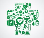 Läkarundersökning som är arg med vård- symbolsuppsättning på vit Royaltyfri Foto