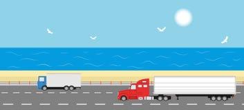 LKW auf der Straße Getrennt auf Weiß Stockfotos