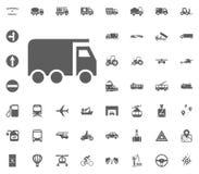 LKW-Ikone Gesetzte Ikonen des Transportes und der Logistik Gesetzte Ikonen des Transportes Lizenzfreie Stockfotografie