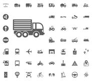 LKW-Ikone Gesetzte Ikonen des Transportes und der Logistik Gesetzte Ikonen des Transportes Stockfoto