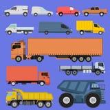 LKW-Ikonen stellten Vektorversandautofahrzeug-Frachttransport durch Straße ein Trägerwaffe-Autoversand-LKWs und Lizenzfreie Stockfotografie