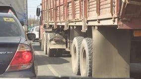 LKW im Verkehr auf der Stra?e stock video footage
