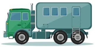 LKW mit dem Anhänger, zum von Leuten, Vektor zu transportieren Lizenzfreies Stockfoto