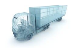 LKW mit Frachtbehälter, Drahtmodell stock abbildung