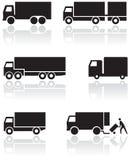 LKW- oder Packwagensymbolset. Stockbilder