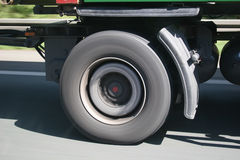 LKW Reifen in Fahrt - truck wheel on the move. Big blurred lorry wheel on the move - seen on a german Autobahn royalty free stock photography