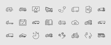 LKW-Satz der Transport-Vektor-Linie Ikonen Enthält solche Ikonen wie LKW, Transport, Tow Truck, Kräne, Mischer lizenzfreie abbildung