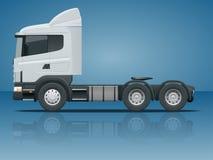 LKW-Traktor oder Sattelschlepper-LKW Fracht, die Fahrzeugschablonenvektorillustration Ansichtseite liefert Änderung vektor abbildung