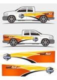 LKW- und Fahrzeugabziehbild Grafik-Ausrüstungsdesign lizenzfreie stockbilder