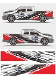 LKW- und Fahrzeugabziehbild Grafik-Ausrüstungsdesign stockfotos