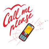 Llámeme por favor teléfono celular Foto de archivo