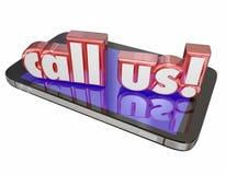 Llámenos multitud de la célula de la orden del soporte técnico del servicio de atención al cliente del contacto ahora Fotografía de archivo